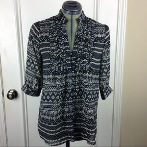 3 for $25 MM Couture| Sheer Geometric Tunic Black